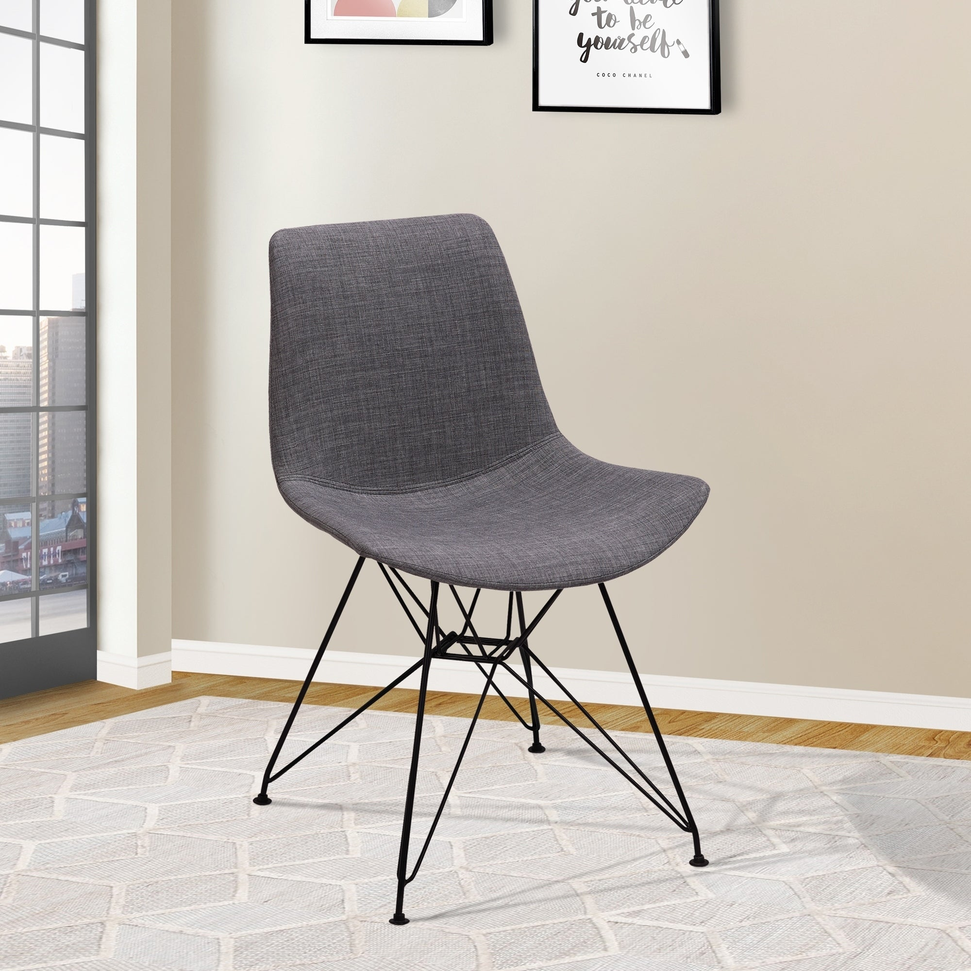 Sensational Pyramid Modern Dining Chair In Black Painted Chrome With Charcoal Fabric Caraccident5 Cool Chair Designs And Ideas Caraccident5Info
