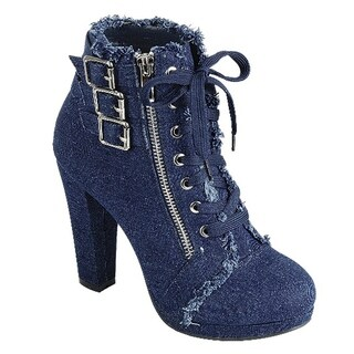 FOREVER FM06 Women's Denim Lace Up Wrapped Chunky Heel Ankle Booties