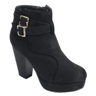 FOREVER FL60 Women's Platform Double Buckle Stacked Heel Ankle Bootie