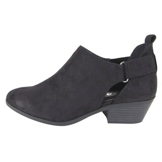 Soda FL16 Women's Ankle Strap Cut Out Stacked Heel Ankle Booties