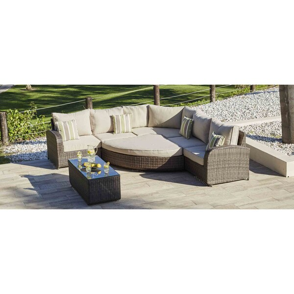 Direct Wicker Ledbury 7 Piece Outdoor Corner Sectional Sofa And Club Chairs Set