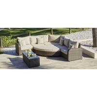 Direct Wicker Ledbury 7-piece Outdoor Corner Sectional Sofa and Club Chairs Set