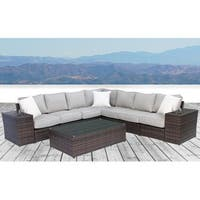 All Weather Resort Grade Outdoor Furniture Patio Sofa Set With Back Cushions -Lucca 10 Piece Sectional WIth Cup Holders