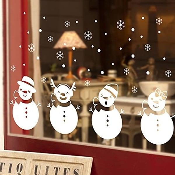 four white snowbabies christmas window stickers 28 x 20 wall vinyl - Christmas Window Stickers