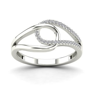 AALILLY 10k White Gold 1/10ct TDW Diamond Fashion Loop Ring (H-I, I1-I2)