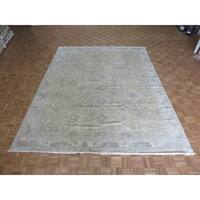 Hand Knotted Sand Oushak with Wool Oriental Rug