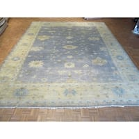 "Hand Knotted Blue Fine Turkish Oushak with Wool Oriental Rug (12'2"" x 14'11"")"