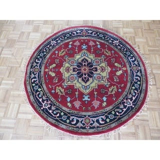 """Hand Knotted Rust Red Serapi with Wool Oriental Rug (4'11"""" x 4'11"""")"""