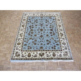 "Hand Knotted Sky Blue Tabriz with Wool & Silk Oriental Rug (8' x 10'1"") - 8' x 10'1"""
