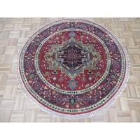 """Hand Knotted Brick Red Serapi with Wool Oriental Rug - 4'11"""" x 4'11"""""""