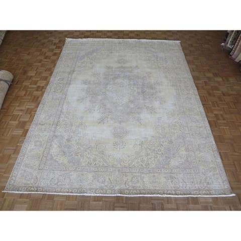 """Hand Knotted Light Gold Tabriz with Wool Oriental Rug - 9'7"""" x 12'10"""""""