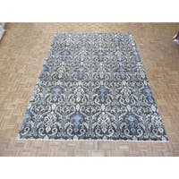 """Hand Knotted Brown Ikat with Wool Oriental Rug - 8'11"""" x 12'"""