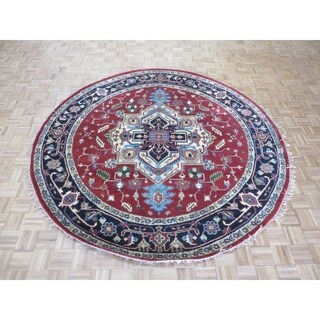 """Hand Knotted Rust Red Serapi Heriz with Wool Oriental Rug (8'9"""" x 8'10"""")"""
