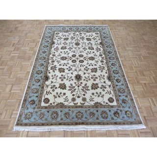 """Hand Knotted Ivory Tabriz with Wool & Silk Oriental Rug - 6' x 9'3"""""""