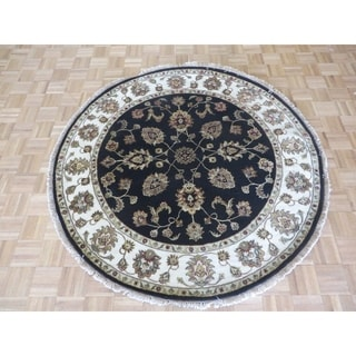 "Hand Knotted Black Tabriz with Wool & Silk Oriental Rug - 5'11"" x 5'10"""
