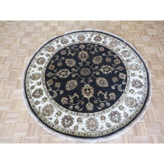 "Hand Knotted Black Tabriz with Wool & Silk Oriental Rug (5'11"" x 5'10"") - 5'11"" x 5'10"""