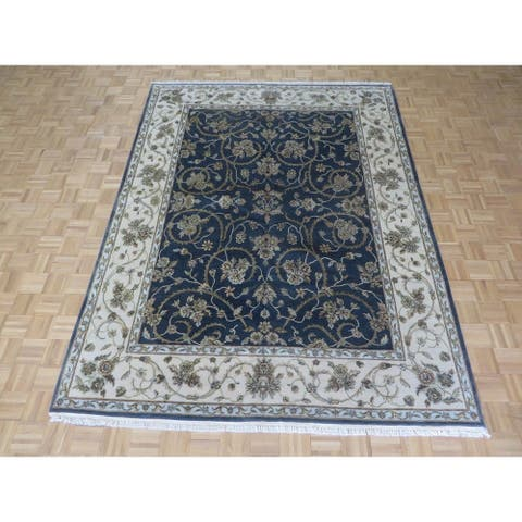 """Hand Knotted Charcoal Black Tabriz with Wool & Silk Oriental Rug - 7'6"""" x 10'"""