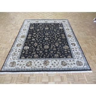 "Hand Knotted Black Tabriz with Wool & Silk Oriental Rug - 7'11"" x 10'1"""