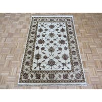 Hand Knotted Ivory Tabriz with Wool & Silk Oriental Rug - 4' x 6'