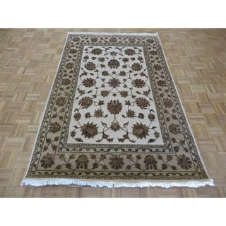 Hand Knotted Ivory Tabriz with Wool & Silk Oriental Rug - 5' x 7'10""