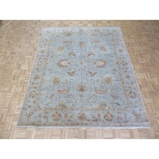 """Hand Knotted Sky Blue Peshawar with Wool Oriental Rug - 8'1"""" x 9'10"""""""
