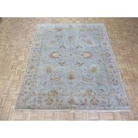 "Hand Knotted Sky Blue Peshawar with Wool Oriental Rug - 8'1"" x 9'10"""