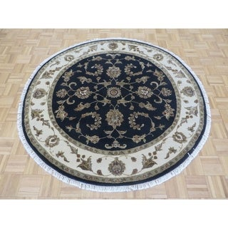 "Hand Knotted Black Tabriz with Wool & Silk Oriental Rug (5'8"" x 5'10"") - 5'8"" x 5'10"""