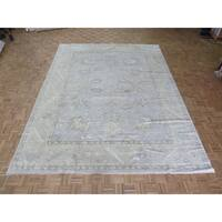 """Hand Knotted Sky Blue Turkish Oushak with Wool Oriental Rug (10'3"""" x 13'7"""") - 10'3"""" x 13'7"""""""