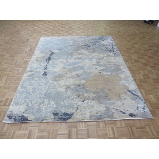 """Hand Knotted Gray Modern with Bamboo Silk Oriental Rug - 8'1"""" x 10'2"""""""