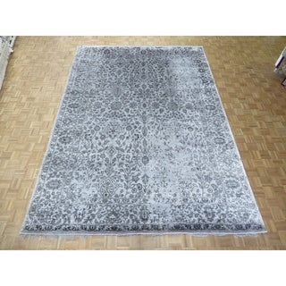 "Hand Knotted Gray Tabriz with Wool & Silk Oriental Rug - 9'10"" x 13'9"""