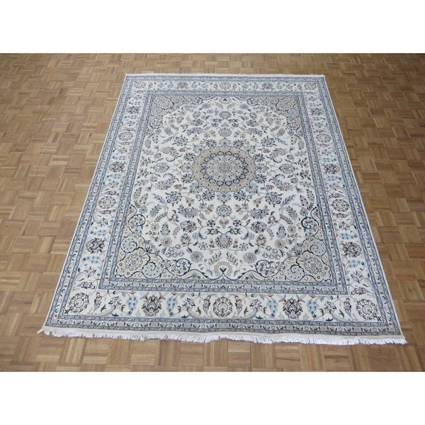 Shop Hand Knotted Ivory Nain With Wool Silk Oriental Rug 8 X 10