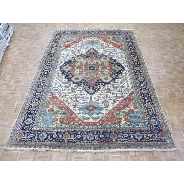 Hand Knotted Heriz Wool Fine Persian Oriental Area Rug: Shop Hand Knotted Ivory Fine Serapi Heriz With Wool