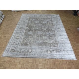 Hand Knotted Brown Bamboo Silk Oushak With Oriental Rug 11 9