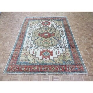 "Hand Knotted Ivory Fine Serapi Heriz with Wool Oriental Rug (8'9"" x 11'8"")"