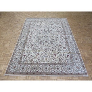 "Hand Knotted Ivory Peshawar with Wool Oriental Rug (8'3"" x 11'1"")"