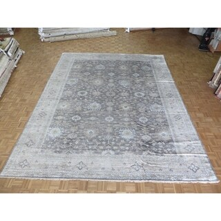 "Hand Knotted Gray Turkish Bamboo Silk Oushak with Bamboo Silk Oriental Rug (11'11"" x 14'9"")"