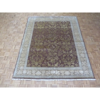 Hand Knotted Brown Tabriz with Wool & Silk Oriental Rug - 8' x 9'9""
