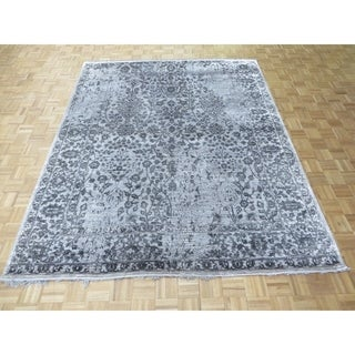 """Hand Knotted Gray Tabriz with Wool & Silk Oriental Rug - 8' x 9'11"""""""
