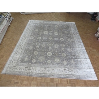 Hand Knotted Gray Bamboo Silk Oushak with Bamboo Silk Oriental Rug