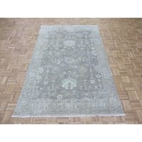 """Hand Knotted Sky Blue Turkish Oushak with Wool Oriental Rug (5'1"""" x 7'9"""") - 5'1"""" x 7'9"""""""