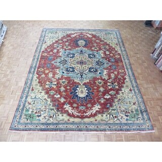 """Hand Knotted Rust Red Fine Serapi Heriz with Wool Oriental Rug (11'7"""" x 14'9"""")"""