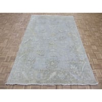 """Hand Knotted Sky Blue Turkish Oushak with Wool Oriental Rug (5'11"""" x 9'3"""") - 5'11"""" x 9'3"""""""