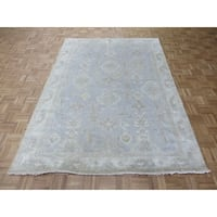 """Hand Knotted Sky Blue Turkish Oushak with Wool Oriental Rug (6'3"""" x 8'9"""") - 6'3"""" x 8'9"""""""