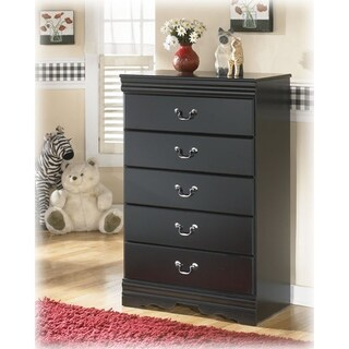 B128-46 Antique Pewter Wood 5-drawer Chest