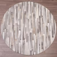 Hand-stitched Grey Cow Hide Leather Round Rug