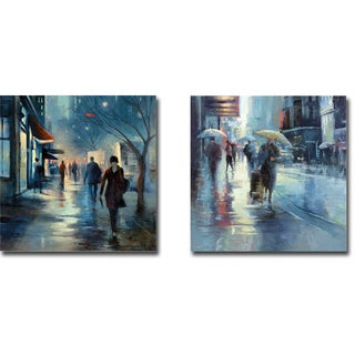 Carol Jessen 'Broadway at Dusk and Seventh Avenue' Gallery-wrapped Canvas Giclee 2-piece Art Set
