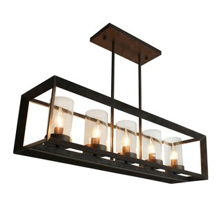 Rustic Kitchen Island Rectangular Pendant Chandelier (Option: Cognac Shade)