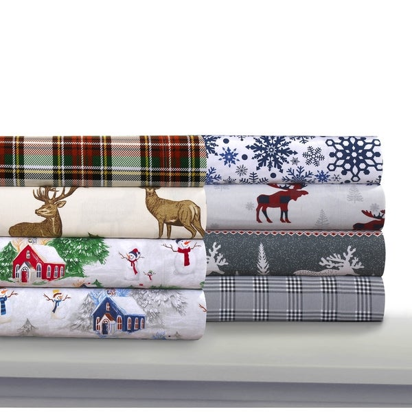 3282dbc9e47557 Cozy Flannel Novelty and Holiday Printed Extra Deep Pocket Sheet Set