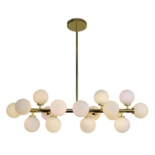 The Broadway Brass and Frosted Glass Globe Rectangular Chandelier