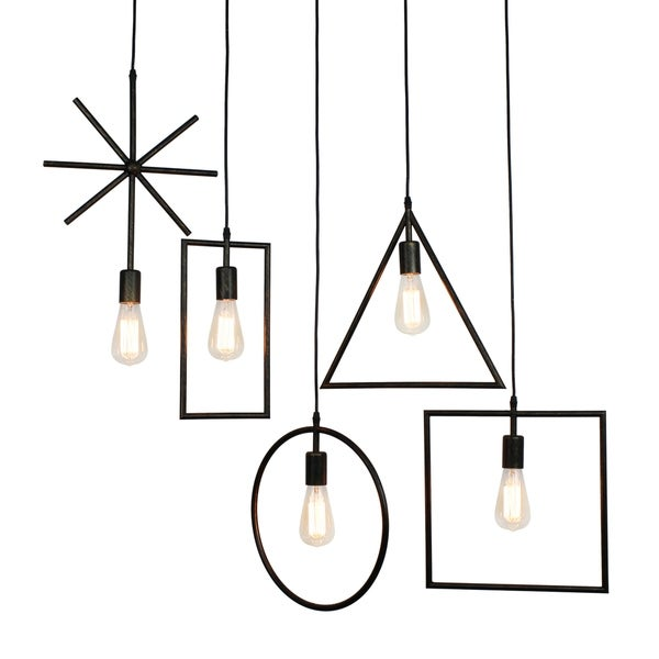 Edison 5 Light Rustic Geometric Pendant, Oil Rubbed Bronze
